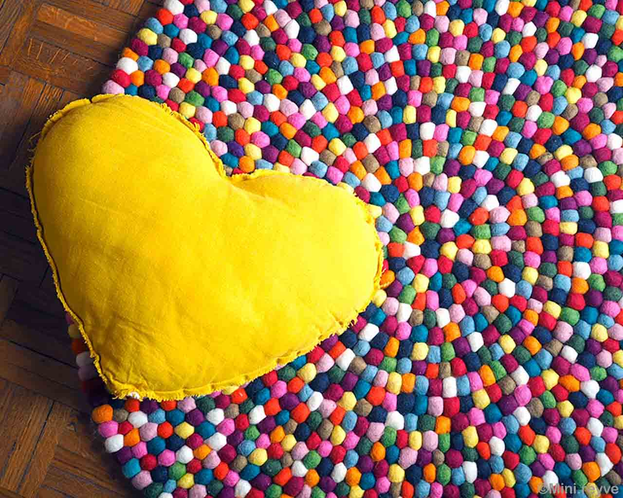 hand knotted yellow heart shape pillow asian oriental rugs online