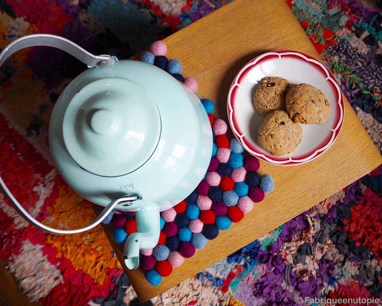 tea pot and plate of biscuits modern striped rug