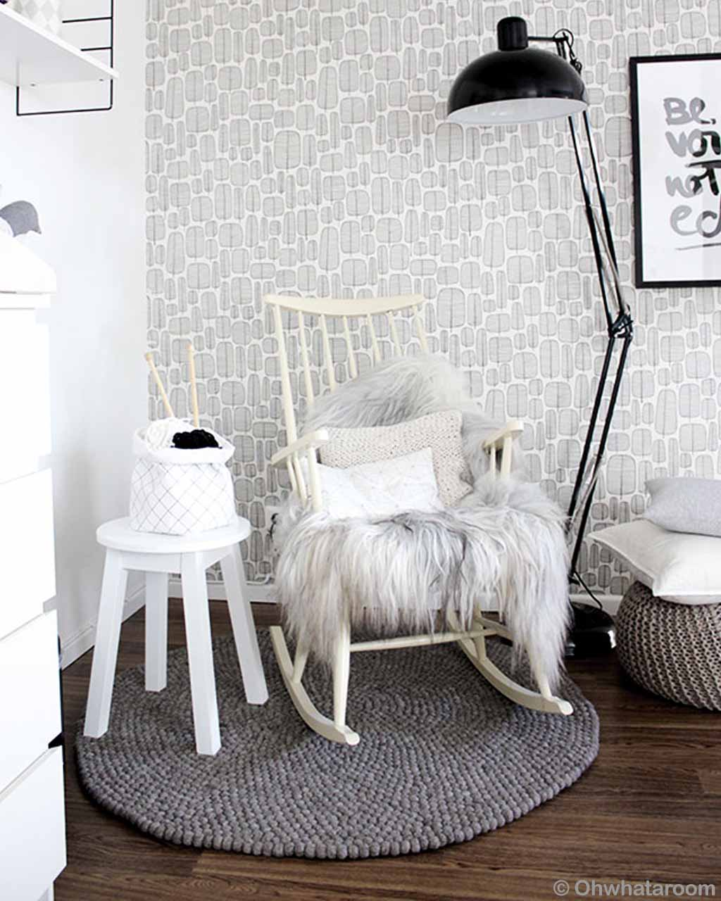 white easy chair and fluffy cushion from nepal contemporary floral rug