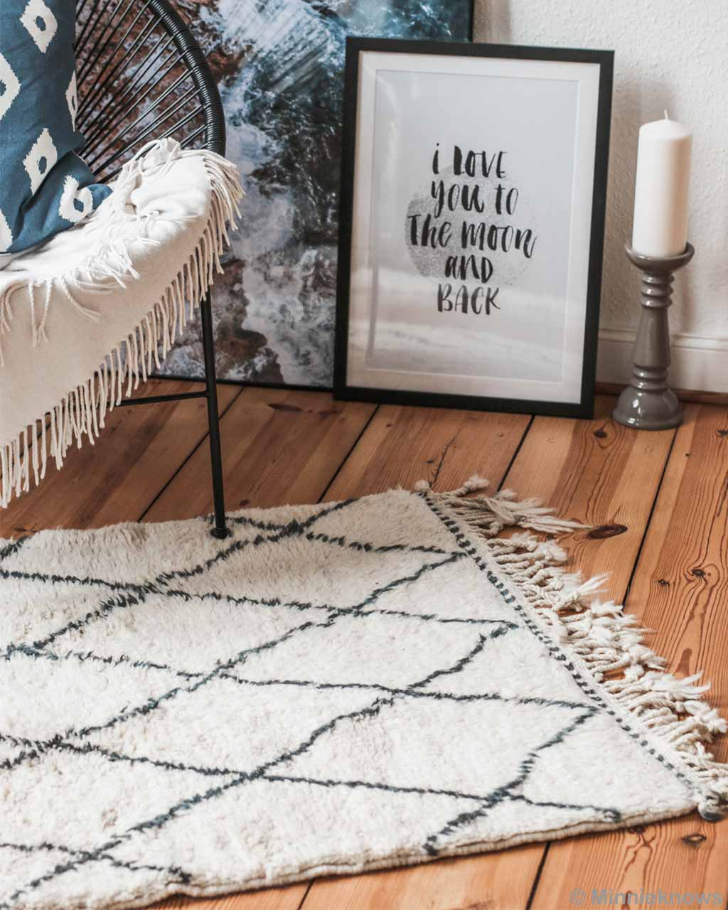 wooden floor and candle stand made by moroccan designer fluffy rugs
