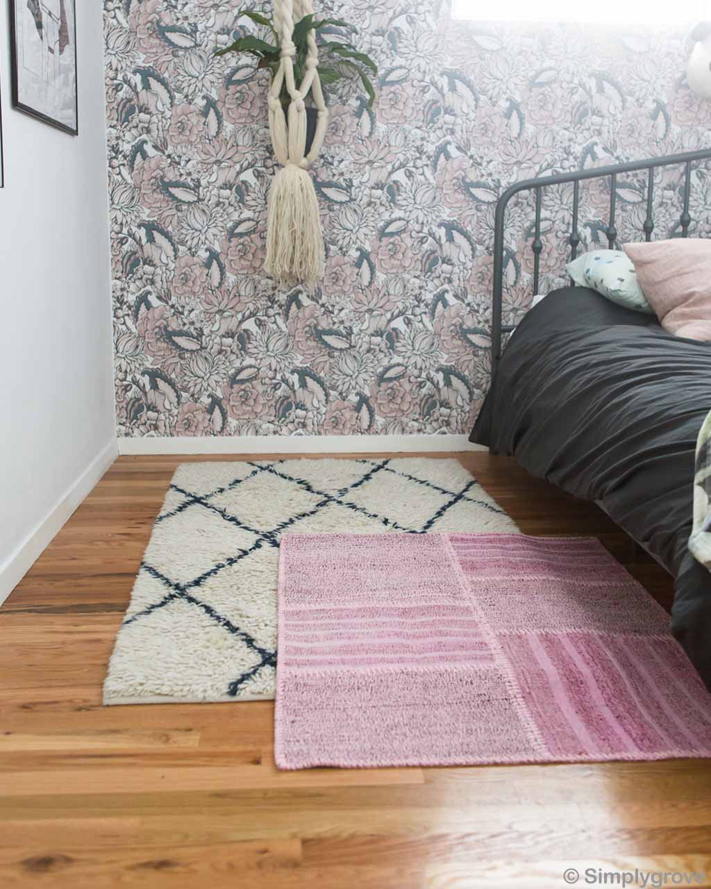 wooden floor and wall paper made in morocco modern striped rug
