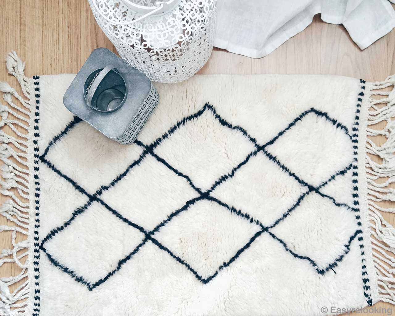 woolen berber beni ourain with black patterns carpet