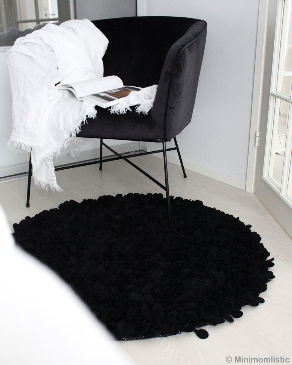 woolen black chair danish design black cut felt area rugs