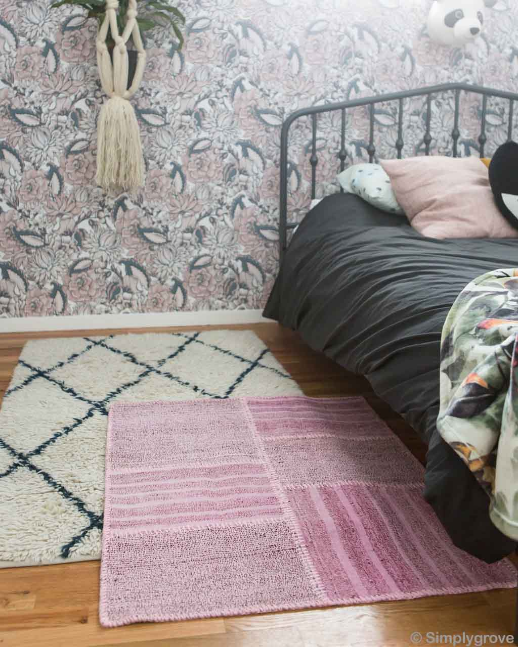 woolen wall paper and black bed sheet moroccan made carpet