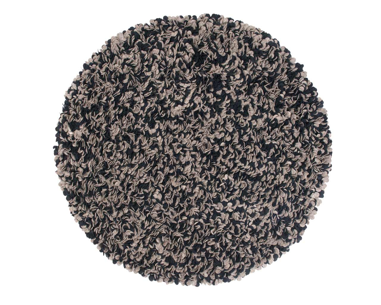 felt round leaves carpet black grey wool handmade floormat cover sukhi