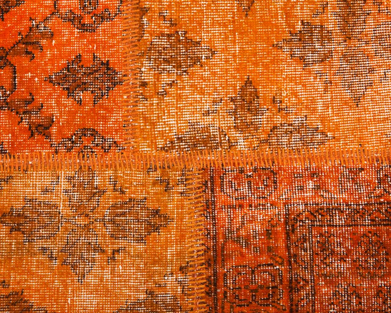 orange overdyed patchwork rug